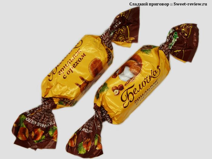 Конфеты Белочка грильяж с орехом (фабрика имени Крупской, Ленинградская область)